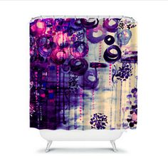 BUBBLEGUM DREAMS Eggplant Purple Pink Balloons Fine Art Shower Curtain by EbiEmporium on #Etsy