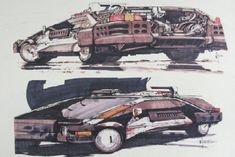 Blade Runner concept art from the closed case file of Rick Deckard by Syd Mead Blade Runner Car, Blade Runner Spinner, Syd Mead, Tecno, Car Design Sketch, Retro Futuristic, Science Fiction Art, Original Movie, Sci Fi Art