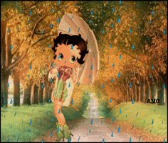 Photo by Christine Yeomans Betty Boop Song, Betty Boop Cartoon, Amanda Lynn, Boop Gif, Betty Boop Pictures, Walking In The Rain, Art Drawings Sketches Simple, Umbrellas, Besties