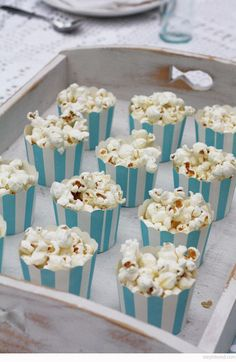 Personal popcorn cups for an award show viewing party.