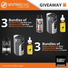 Tank, Box Mod and E-Liquid Combo Giveaway (6 Winners!)  Enter: https://wn.nr/FNzhgb