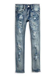 Girls 7-16 VIP Ripped Skinny Jeans - 3629065300051