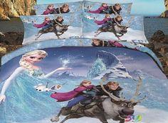 Cartoon Kid Bedding Sets Princess Anna Olaf Frozen Home Textiles Duvet Covers Flat Sheet Pillow Cases Cotton Cheap Bed In A Bag Frozen Free Fall, Cute Frozen, Olaf Frozen, Double Duvet Covers, Duvet Cover Sets, 3d Cartoon, Cartoon Kids, Frozen Bedding, Anna Blue