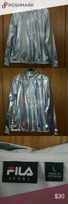 Fila Sport Women's Large Silver Hooded Windbreaker Lightweight, Shiny Silver, worn once, hooded, warm pockets, large jacket Fila Jackets & Coats