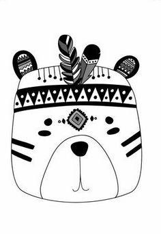 Fox Rabbit Bear Nursery Prints Boys Room Decor Set of 3 Tribal Bear, Tribal Animals, Nursery Prints, Nursery Wall Art, Bedroom Wall, Bear Nursery, Bedroom Prints, Machine Silhouette Portrait, Polka Dots
