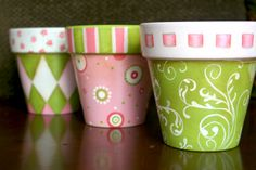 Whimsical painted clay pots
