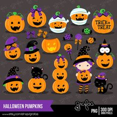 HALLOWEEN PUMPKINS Digital Clipart,  Halloween Clipart, Pumpkin Clipart  / Instant Download