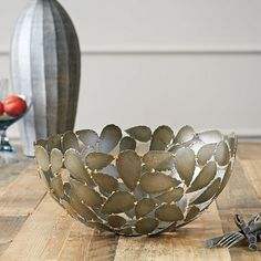 Metal Leaf Decorative Bowl from West Elm. Looks like Opuntia pads to me. Perfect for the modern-style or cactus gardener. Table Accessories, Decorative Accessories, Decorative Objects, Decorative Bowls, Metal Bowl, Metal Art, Leaf Bowls, Metal Homes, Modern Sculpture