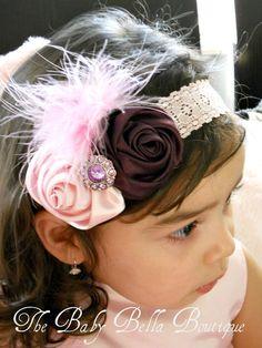 Headband - Baby Girl Flower lace Headband - Toddler ,newborn Headband - Flower Headband / Pink and purple Rosettes,Feathers
