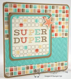 My Super Duper Swimmer! FMS122 Retro Fresh Journalling Tags, Chevron TIEF, Simply Stars, Joanne James UK Independent Stampin' Up! Demonstrator, blog.thecraftyowl.co.uk