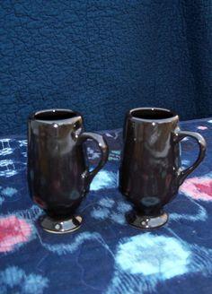 Expresso Cups Pair Mid Century Ebony Stoneware by AntiquesandVaria