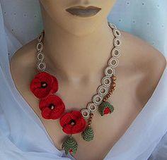 Amazing DIY Crochet Jewelry for Frugal but Stylish Woman Diy Crochet Jewelry, Crochet Bracelet, Fabric Jewelry, Crochet Accessories, Crochet Crafts, Jewelry Art, Beaded Jewelry, Crochet Earrings, Handmade Jewelry