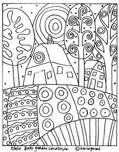 Karla Gerard Patterns by Hetty Van Gurp. A selection of whimsical folk art patterns created by artist, Karla Gerard. Doodle Art, Colouring Pages, Coloring Books, Free Coloring, Adult Coloring, Arte Elemental, Karla Gerard, Arte Popular, Art Plastique