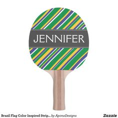 Brazil Flag Color Inspired Stripes Pattern + Name