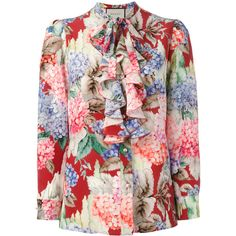 Gucci Hydrangea print ruffled blouse featuring polyvore women's fashion clothing tops blouses frill blouse ruffle top frilly tops flounce blouse ruffle trim top
