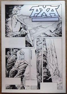 Romero, Enrique Badia - Originele pagina (Hoofdstuk 3 p.1) + inkleuring - Axa - El Origen - (1988) - W.B.