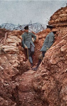 WWI, German trench on the Western Front, postcard close-up, Credit: AKG Images/Ullstein