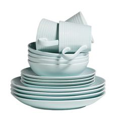 pale blue dinnerware set