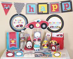 Red Race (Racing) Car Birthday Printable DIY Party Kit, ETSY