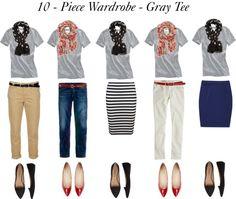 """10 - Piece Wardrobe - Gray Tee"" by bluehydrangea ❤ liked on Polyvore"
