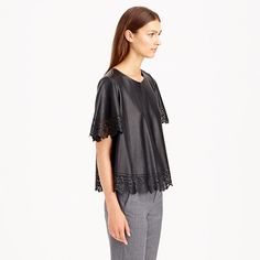 Collection laser-cut leather top — J. Crew