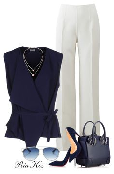work outfit by ria-kos ❤ liked on Polyvore featuring Michael Kors, Christian Louboutin, Mantù and Christian Dior
