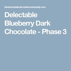 Delectable Blueberry Dark Chocolate - Phase 3