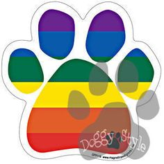Rainbow Gay and Lesbian Pride Dog Paw Magnet http://doggystylegifts.com/products/rainbow-gay-and-lesbian-pride-dog-paw-magnet