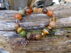 Pumpkin Lampwork  Bead Bracelet Fall Color by HarborGirlDesigns