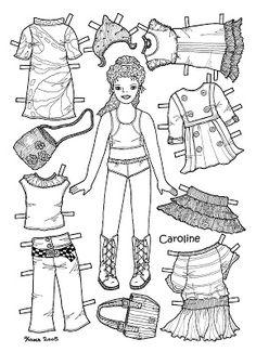 Karen`s Paper Dolls: Caroline 1-6 Paper Doll to Colour. Caroline 1-6 påklædningsdukke til at farvelægge.