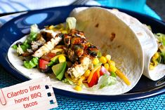 Grilled Chicken Tacos with Cilantro Lime Honey Dressing @Suzanne, with a Z | You MadeThat?