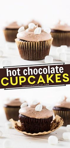 Are you ready for some holiday baking? Give this recipe a try! These Hot Chocolate Cupcakes taste just like the drink. Not only are they made of cocoa for the frosting, but they are also topped with mini marshmallows! A moist, flavorful dessert perfect for Christmas! Homeade Desserts, Delicous Desserts, Homemade Cupcake Recipes, Easy Delicious Recipes, Healthy Dessert Recipes, Just Desserts, Easy Recipes, Yummy Food, Recipes Using Marshmallows