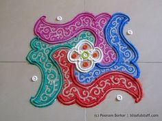 Colorful 6 by 6 dots rangoli | Creative rangoli designs by Poonam Borkar - YouTube