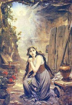 Joana d'Arc ouve pela primeira vez a voz que lhe prediz o seu alto destino, 1884, Museu Nacional de Belas Artes - Por Pedro Américo (artista brasileiro)