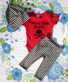 Black and white striped short legged bloomers and matching top
