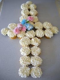 Babycakes: Cupcake Cross presentation. Great for Easter or a Christening.
