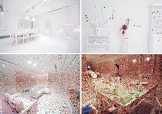 the obliteration room - yayoi kusama, 2012 [installation at queensland gallery of modern art; link to article about yayoi kusama + louis vuitton collaboration]
