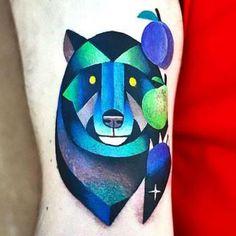 Blue Bear Tattoo Idea