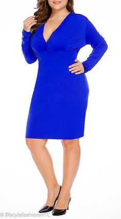 25c4568238 INstyle fashion NYC Women s blue sheath plus size dress Long sleeve V-neck  top Empire waistline Pencil silhouette Polyester