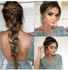 Penteado Prom Hair Updo, Braided Prom Hair, Prom Hairstyles For Long Hair, Prom Braid, Wedding Hairstyles, Bun Hairstyles, Wedding Hair And Makeup, Hair Makeup, Elegant Ponytail