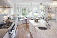 Pat's white kitchen: Classical Kitchen - traditional - kitchen - new york - Pickell Architecture: love the window seat Home Design, Küchen Design, Design Ideas, Design Inspiration, Kitchen Inspiration, Layout Design, Light Design, Yard Design, Floor Design