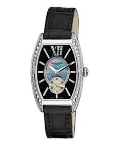 Look at this #zulilyfind! Diamond & Black Tonneau Leather-Strap Watch by Akribos XXIV #zulilyfinds