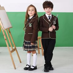 British American Spring winter school uniform for girls&boys kids jacket skirt baby girl clothes children clothing sets