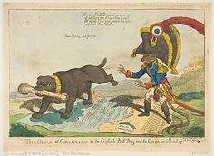 The Bone of Contention or the English Bull Dog and the Corsican Monkey  Charles Williams  (British, active 1797–1830)  Publisher: Samuel W. Fores (London) Date: June 14, 1803