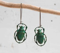 Steam Punk Green Beetle EARRINGS Nature Study Victorian Scarab. $22.00, via Etsy.
