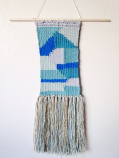 """Woven tapestry blue mermaid wall hanging modern home Fringe - Etsy $60, 5.5"""" x 17"""""""