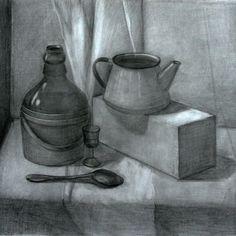 #art #studi #old #stilllife #натюрморт #pencil #black #painting #teslimovka