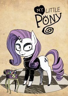 my little pony, gothic art, rarity Tim Burton Drawings Style, Tim Burton Art Style, House Doodle, Pokemon Tattoo, Pony Drawing, Gothic Art, Disney Cartoons, Pretty Art, Easy Drawings
