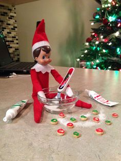 Elf on the Shelf (2013) Day 8 - Alfie has been baking up a storm ... Christmas donuts :D