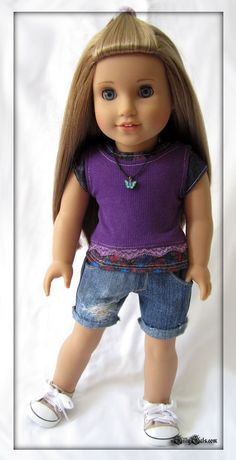 Purple lacey tank and cut off destroyed denim shorts outfit by+GillyGals. Made with the LJC Cut Off Shorts pattern. Find it at http://www.pixiefaire.com/products/cut-off-shorts-18-doll-clothes. #pixiefaire #libertyjane #cutoffshorts